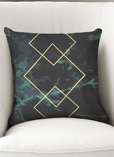 Lyn Home & Decor Yastık Kılıfı Ortası Gold Üçgen İçiçe Renkli